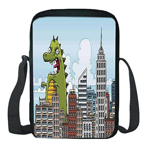 Jurassic Decor Print Kids Crossbody Messenger Bag,Giant Cartoon Monster Invades City Attack Skylines Downtown Science Fiction for Boys,9''H x 6''L x 2''W