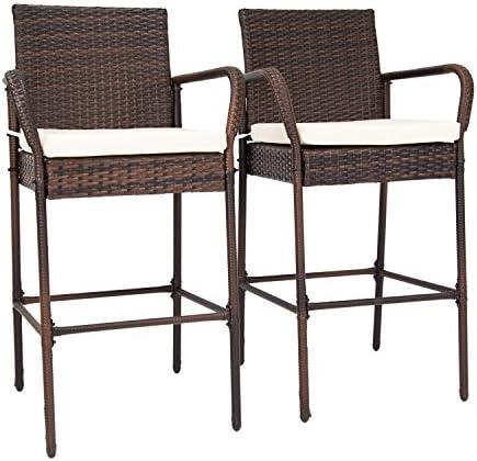 Peach Tree Set of 2 Patio Outdoor Wicker Barstool Set Pool Furniture High Chair Brown w Free Cushions