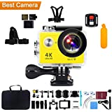 "Action Camera, Kebo 2.0"" LCD Screen 4K WiFi Ultra HD Waterproof Sport Camera with 170 Wide-Angle Lens, Remote Control, Full Accessories Kits and Waterproof Case - Yellow"
