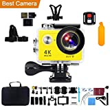 Action Camera, Kebo 2.0'' LCD Screen 4K WiFi Ultra HD Waterproof Sport Camera with 170 Wide-Angle Lens, Remote Control, Full Accessories Kits and Waterproof Case - Yellow