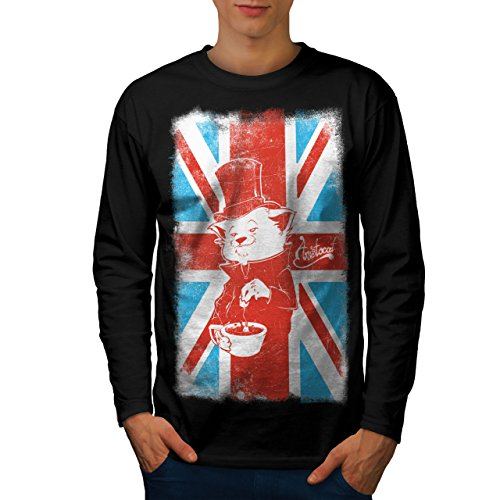 wellcoda Great Britain Cat Mens Long Sleeve T-Shirt, British Graphic Print Black (British Organic Mens T-shirt)