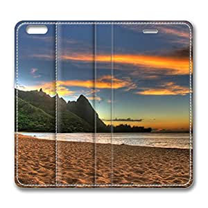 Beach Sunset iPhone 6 Plus 5.5inch Leather Case, Personalized Protective Slim Fit Skin Cover For Iphone 6 Plus [Stand Feature] Flip Case Cover for New iPhone 6 Plus by runtopwell