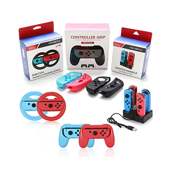 Accessories Bundle for Nintendo Switch, Kit with Carrying Case,Protective Case with Screen Protector,Compact Playstand,Game Case,Joystick Cap,Charging Dock,Grip and Steering Wheel for Nintendo Switch 6