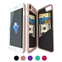 """iPhone 6/6S Wallet Mirror Case, Bidear [Multifunction Series] 3 Card Slots with Stand Phone Cover for Apple iPhone 6/6S -4.7"""" (Rose Gold)"""