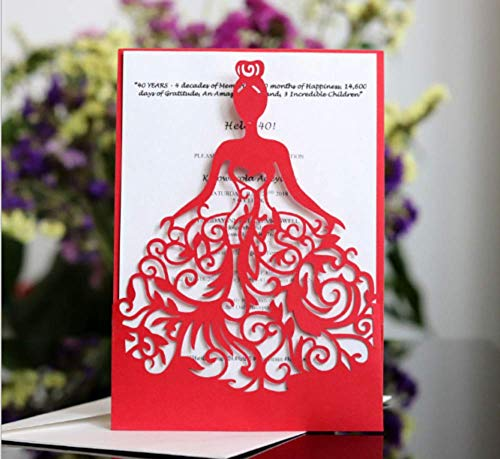 10PCS Girl Red Laser Cut Party Invitations Cards Graduation Engagement Greeting Cards Tksmart from Unknown
