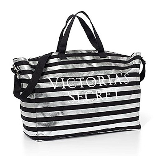 victorias-secret-bombshell-tote-duffle-bag-black-silver-stripe