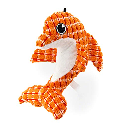 MOREFUN Corduroy Squeaky Dog Toys for Aggressive Chewers Durable Plush Toys for Small Medium Dogs (Dolphin)