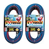 U.S. Wire 100-Foot Blue Cold Weather Extension Cord with Lighted Plug (2-Pack)