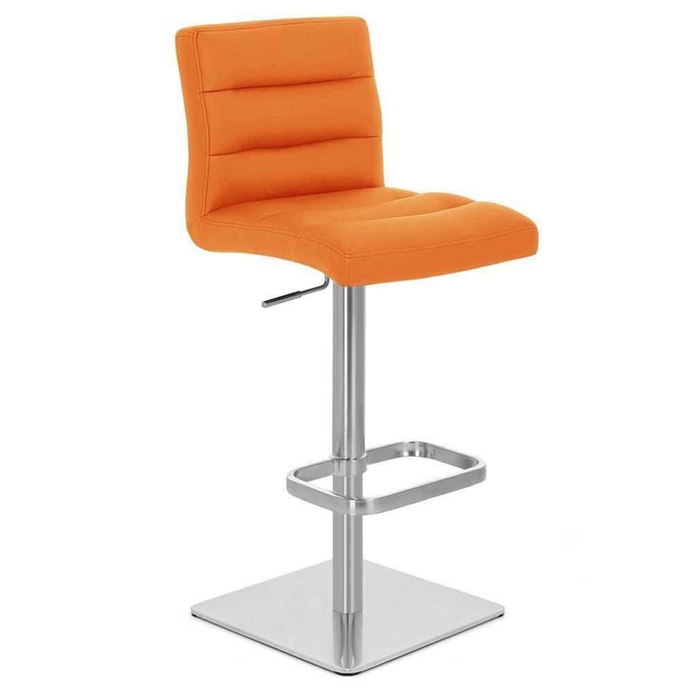Zuri Furniture Orange Lush Square Base Adjustable Height Swivel Armless Bar Stool by Zuri Furniture
