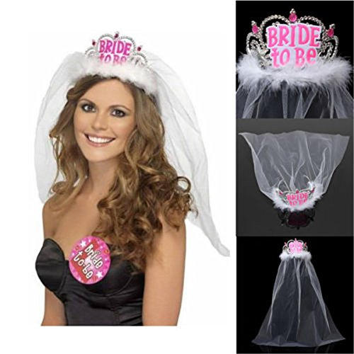 [Interesting Bride To Be Crown Tiara with White Veil Hen Night Party Bridal Shower Decor] (Hen Night Costume Accessories)