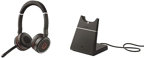 Amazon Com Jabra Evolve 75 Uc Stereo Wireless Bluetooth Headset Music Headphones Including Link 370 U S Retail Packaging Black Bundle With Jabra Evolve 75 Charging Stand
