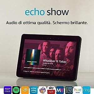 Echo Show (2ª generazione) – Resta sempre in contatto con l'aiuto di Alexa – Nero+ Lampadina Philips Hue White 8 spesavip
