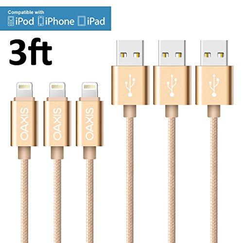 Lightning Cable, Oaxis Tech 3 pcs Gold Nylon Braided Lightning to USB Cable 3.3ft/1M 8-Pin Lightning USB Charge Data Sync Cord for iPhone 6/6s/5/5S/5C/SE/Plus,iPad 4,iPad Air 1/2/Pro,iPad Mini