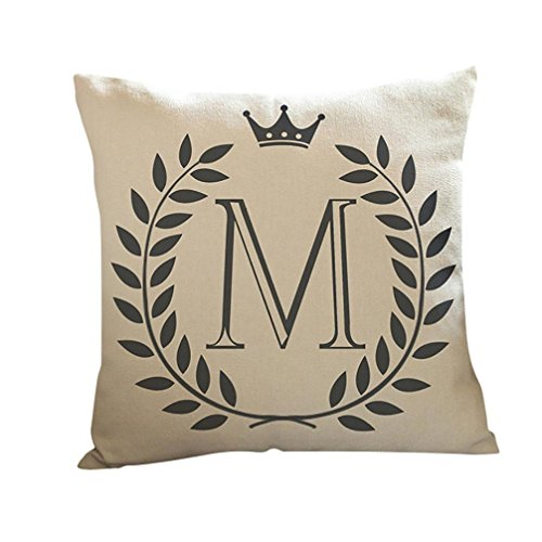 "Clearance! SINMA Fashion 26 Letters Printed Square Pillowcase Home Decor Pillow Cover Room Sofa Bed Cushion Case 18"" X 18"" (Crown Leaves 