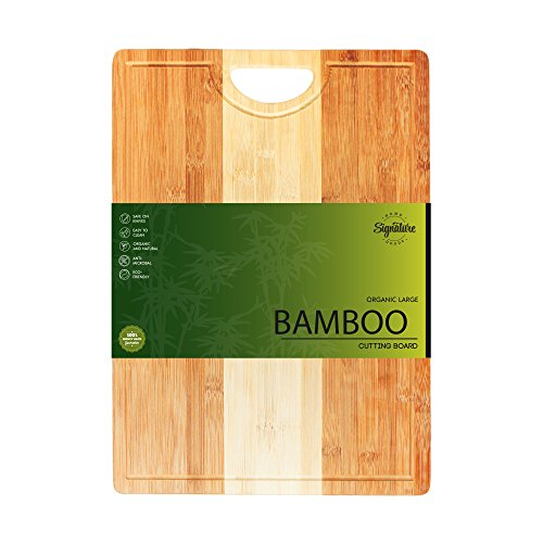 Cutting Board - Large Bamboo Cutting Board (18X12) Organic Bamboo with Juice Groove | Premium Grade Quality with Handle for Easy Handling. Ideal for Cutting and Chopping Meat, Vegetables, and More!