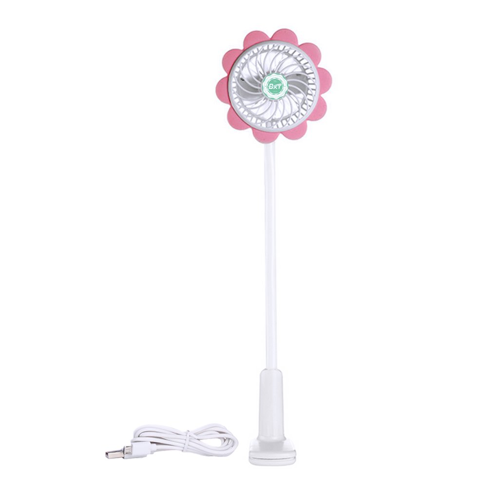 Mini USB Clip-on Fan Rechargeable Baby Stroller Fans Sunflower Shape Handheld Cooling Fan Personal Mini Air Conditioner Fan with Adjustable Speed, Perfect for Dormitory, Bedside, Desk, Office, Home YJZQ
