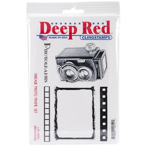 Deep Red Stamps Vintage Photo Frame Rubber Stamp Set