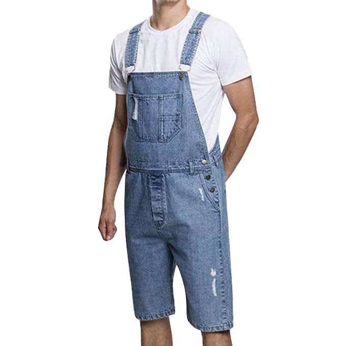 Hombre Pantalones Monos Casual Peto Jeans Elasticidad Slim ...