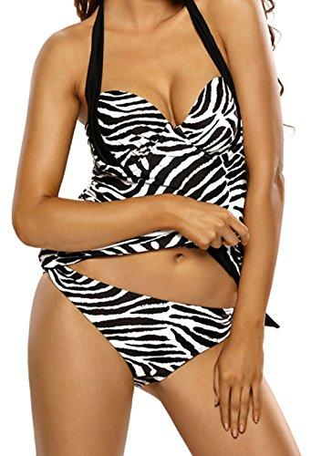 YeeATZ Women Black White Zebra Print Halter Tankini - Friday Swim Outlet Black