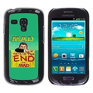 Caucho caso de Shell duro de la cubierta de accesorios de protección BY RAYDREAMMM - Samsung Galaxy S3 MINI NOT REGULAR! I8190 I8190N - Mad Crazy World Life Quote Slogan Funny