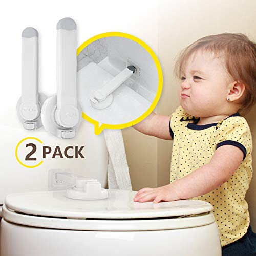 Baby Proofing Swing Shut Toilet Lock [2 Pack] - Upgraded Gapless Pallet Mechanism for Child Safety, Universal Fit for Most Toilet Lid, Toolless 3M Adhesive Intallation with No Damage to Toilet