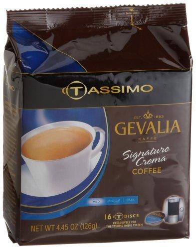 Gevalia Signature Crema Coffee (Mild), 16-Count T-Discs for Tassimo Coffeemakers (Pack of 2)