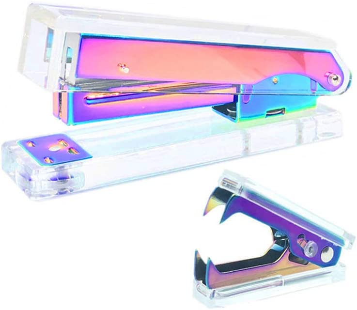 Office Stapler Staples Remover Set, Clear Acrylic Metallic Rainbow Tone Desk Executive Manual Staplers and Staple Remover Tool for Desktop Accessories Supplies (Clear & Rainbow)