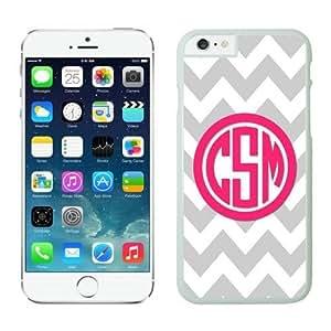Classic Personalized Gray Chevron Pink Monogram iPhone 6 Plus Case White