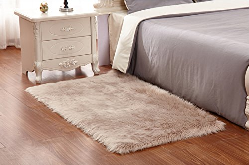 Meng Ge Faux Sheepskin Area Rug Chair Cover Seat Pad Plain S