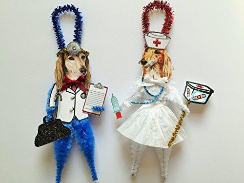 Saluki DOCTOR & NURSE ORNAMENTS Vintage Style Chenille Ornaments Set of 2