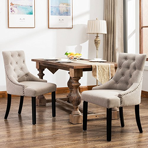Mecor Fabric Dining Chairs Set of 2,Leisure Padded Chair with Armrest,Black Solid Wooden Legs (Grey)