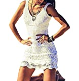(US) Bestyou Women's Swim Cover up Tunic Crochet Knit Top Beachwear Swimsuit Swimwear (Off White C)