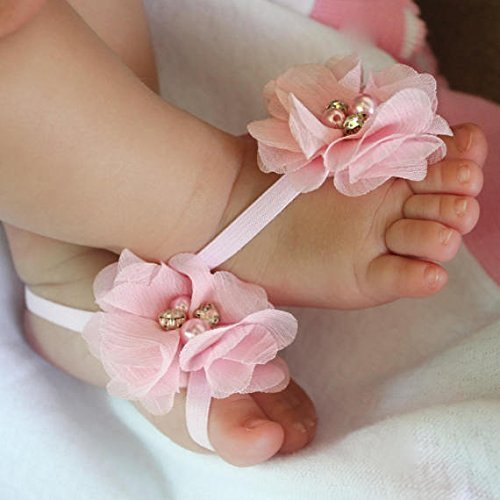 2c663d542fab Amazon.com  Handmade Pink Flower Baby Barefoot Sandals by ALLBABYGIRLS