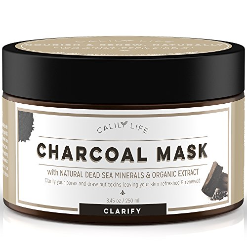 Calily Life Organic Deep Cleansing Activated Charcoal Mask with Dead Sea Minerals, 8.45 Oz. - Natural Wash-off Treatment -Deeply Cleanses and Minimizes Pores, Revitalizes Skin, Hydrates & Strengthens