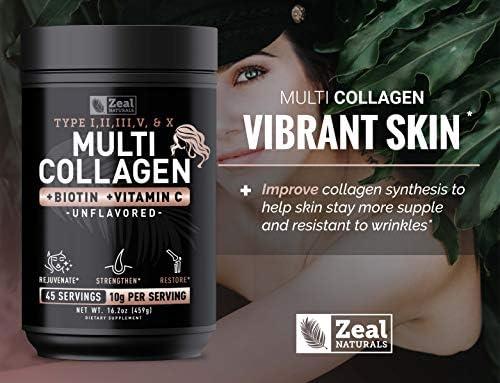 Premium Collagen Peptides Powder (Ⅰ,Ⅱ,Ⅲ,Ⅴ,Ⅹ) Multi Collagen Protein + Hyaluronic Acid + Vitamin C + Biotin - #1 Collagen Powder for Women Hair Skin and Nails - Marine, Bovine, Chicken & Eggshell