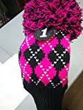 Majek Argyle #1 460cc Driver Pink & Black Golf Headcover Knit Pom Pom Retro Classic Vintage Head Cover