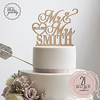 Amazon unique wedding cake toppers letter personalized initials personalized wedding cake topper mr mrs heart customized wedding date and last name to be bride junglespirit Choice Image