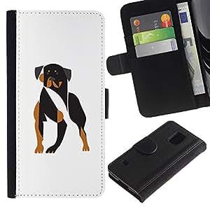 Paccase / Billetera de Cuero Caso del tirón Titular de la tarjeta Carcasa Funda para - Vicious dog - Samsung Galaxy S5 V SM-G900