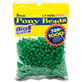 Darice 06121-2-08 Pony Bead Big Value Pack 9mm 1000/Pkg-Opaque Green,1 pack