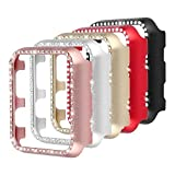 Coobes Compatible with Apple Watch Case 38mm 42mm, Metal Bumper Protective Cover Women Bling Diamond Crystal Rhinestone Shiny Compatible iWatch Series 3/2/1 (Diamond-5 Color Pack, 42mm)
