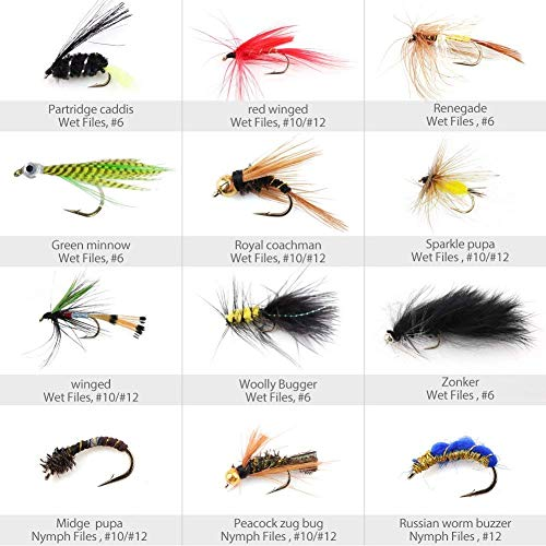 Fishing flies. LotFancy 60 PCS Dry/Wet Flies for Fly Fishing with Waterproof Fly Box - Nymph Flies, Woolly Bugger Flies, Streamers, Emergers, Caddis Fly Assortment for Trout Bass Salmon