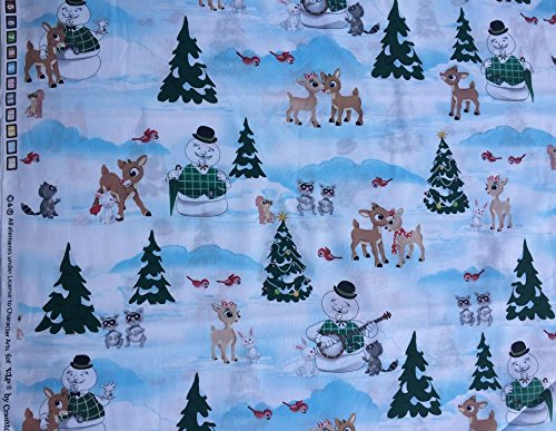 - Rudolph the Red Nosed Reindeer Winter Holiday Christmas Scene Fabric ~ 1 Yd.