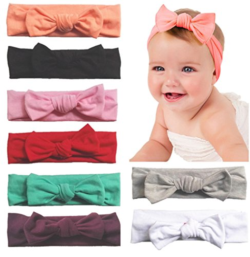 Toptim Baby Headbands Turban Knotted, Girl's Hairbands for Newborn, Toddler and Children's, Assorted Colors -8 (Infant Toddler Bow Headband)
