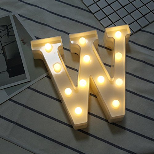 Hot Sale Alphabet LED Letter Lights, Keepfit Light Up White Plastic Letters Standing Hanging for Home Party Bar Wedding Decoration (W, 8.7