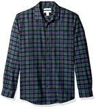 Amazon Essentials Men's Regular-Fit Long-Sleeve Plaid Flannel Shirt, Black Watch, Large