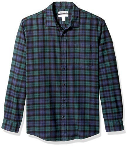 Amazon Essentials Men's Regular-Fit Long-Sleeve Plaid Flannel Shirt, Black Watch, Large