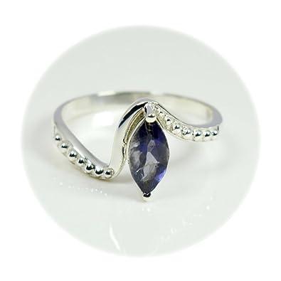 Gemsyogi Natural Blue Iolite Silver Ring Chakra Healing Handmade Cabochon Jewelry Size J,K,L,M,N,O,P,Q,R