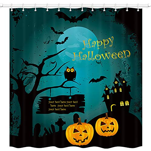 JAWO Happy Halloween Shower Curtain, Pumpkin Gothic Horrible Black Castle in Dark Night Premium Waterproof Bathroom Decor Polyester Fabric Upgrade Bath Curtains, Hooks Included, 69X70 Inches]()