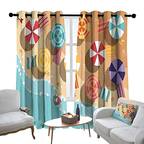 Lewis Coleridge Window Curtain Fabric Beach,Summertime Seacoast with Colorful Umbrellas Stars Flat Design Aerial View Vacation,Multicolor,Rod Pocket Curtain Panels for Bedroom & Living Room 120