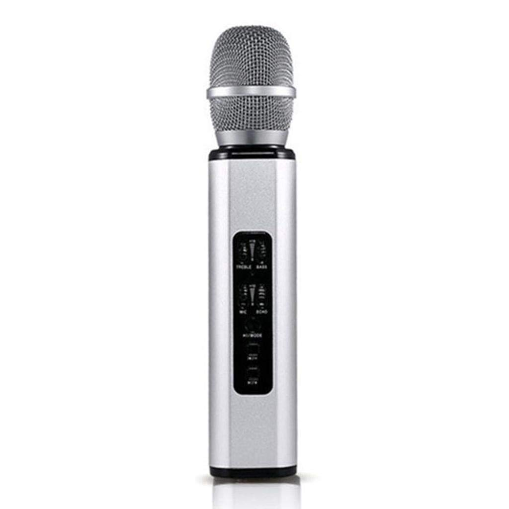 Rsiosle Profession Wireless Bluetooth Karaoke Microphone, Record Music Metal MIC Bluetooth Speaker Compatible with Android and iOS ( Color : Silver )